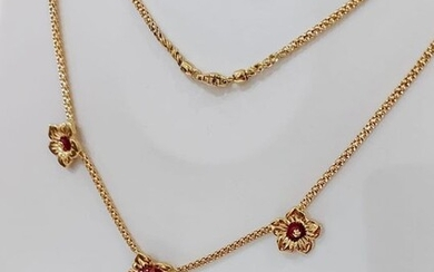 18 kt. Gold, Yellow gold - Necklace with pendant - 1.00 ct Ruby