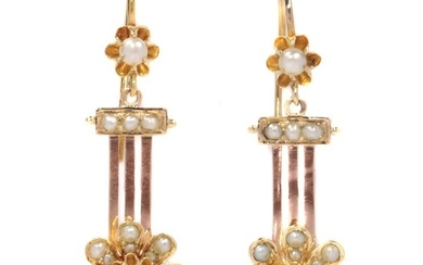 18 kt. Pink gold - Earrings, Antique Victorian Pendant Earrings - Anno: 1880 - 26 Real Half Seed Pearls -NO RESERVE PRICE