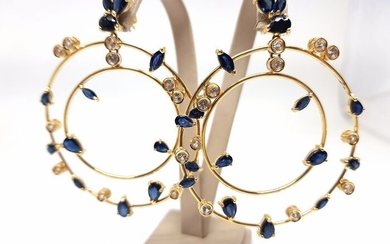 18 kt. Yellow gold - Earrings - 11.76 ct Sapphire - Diamond