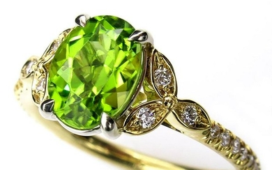1.82ctw OVAL Cut Natural Peridot Engagement Diamond