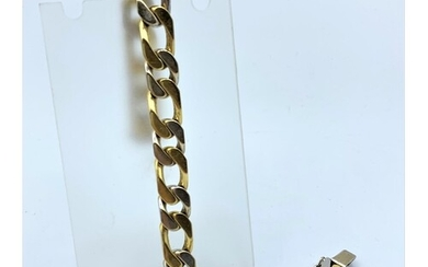 18ct yellow and white Gold heavy link Bracelet, weight 53.1g...
