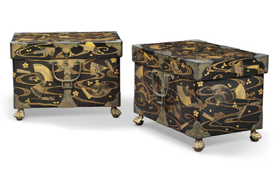 A PAIR OF JAPANESE GILT-METAL MOUNTED, GILT AND BLACK LACQUER COFFERS, EDO PERIOD, FIRST HALF 19TH CENTURY