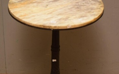 1900S FRENCH ROUND CAST IRON AND MARBLE TOPPED TABLE (70H x 52D CM) (PLEASE NOTE THIS HEAVY ITEM MUST BE REMOVED BY CARRIERS AT THE...