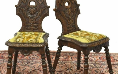 (2) FRENCH BRETON CARVED OAK HALL CHAIRS