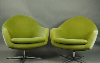 2 Mid-Century Modern Knoll Style Swivel Egg Club Chairs