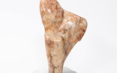 20TH CENTURY ABSTRACT ROUGE MARBLE SCULPTURE