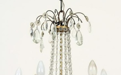 SIX ARM BRONZE AND CRYSTAL CHANDELIER C.1940