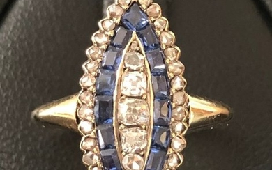 18 kt. Yellow gold - Marquise ring - 0.57 ct - 0.48 ct. Calibrated Ceylon Sapphires