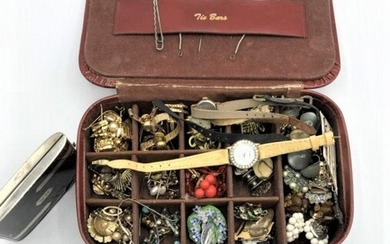 50+ Assorted Costume Jewelry Pins Earrings Watches