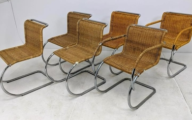 6 pcs MARCEL BREUER Chairs. Two arm chairs and four sid