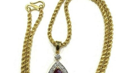 6.14 CT Natural Ruby Diamond Gold Rope Chain Necklace
