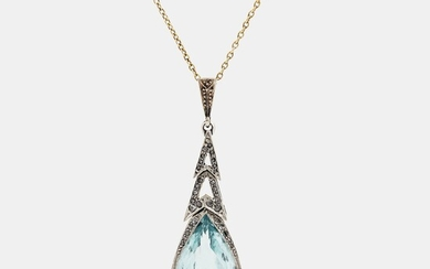 A 14K gold and platinum pendant set with an aquamarine and rose-cut diamonds