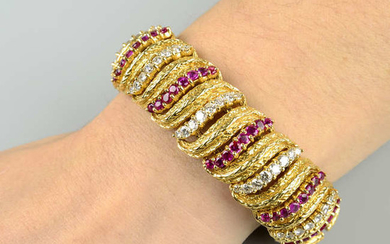 A 1960s 18ct gold ruby and diamond textured bracelet, by Kutchinsky.