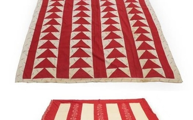 A 19th Century Turkey Red and White Cotton Strippy Bed...