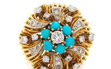 A Bicolor Gold, Diamond and Turquoise Ring,