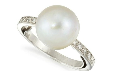 A CULTURED PEARL AND DIAMOND RING, a large cultured