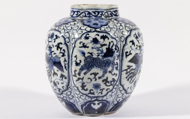 A Chinese Blue and White Kylin and Phoenix Themed Transitional Style Jar (H:24cm)