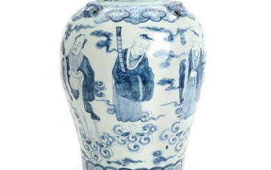 A Chinese blue and white porcelain jar, decorated with deities and clouds. 19th century. H....