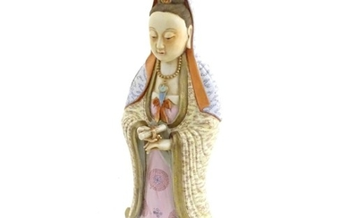 A Chinese famille rose standing figure of Guanyin, the Buddh...
