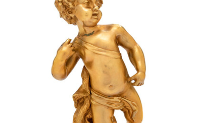 A Continental Gilt Bronze Figure of a Bacchic Putto