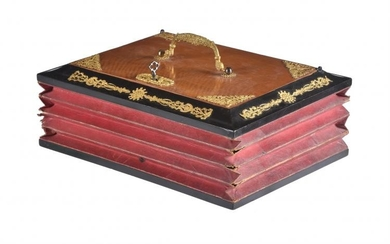 A Continental satin birch, ebonised, and gilt metal mounted stationery box