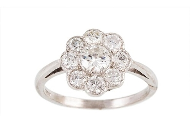 A DIAMOND 'DAISY' CLUSTER RING, the brilliant cut diamonds m...