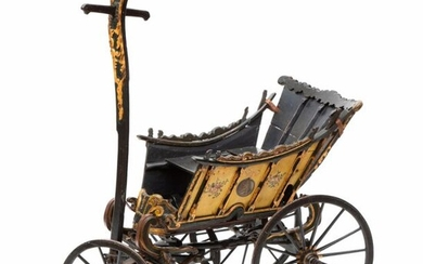 A Dutch polychrome painted and parcel gilt carved wood children's carriage