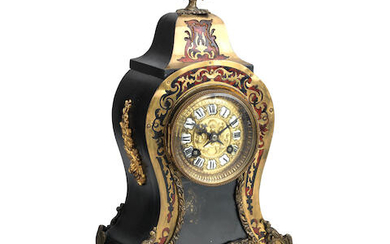 A French 19th century stained tortoiseshell boulle and gilt metal mounted mantel clock