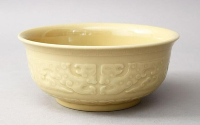 A GOOD CHINESE BISCUIT GROUND PORCELAIN BOWL, the bowl