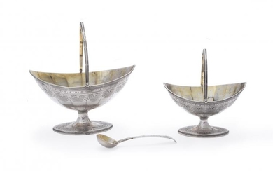 A George III silver navette pedestal cream basket, matching sugar basket and spoon by Charles Hougham