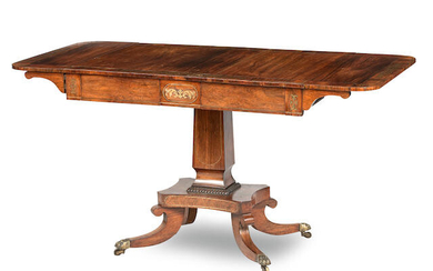 A George IV rosewood and brass inlaid sofa table