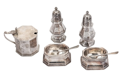 A George V / Edward VIII sterling and Britannia standard silver seven piece cruet, all by Lionel Alf