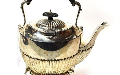 A George V silver kettle, stand and lamp, by Jones...