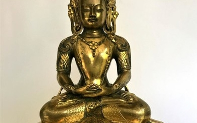 A Gilt Bronze Figure of Amitayus, Zanabazar School, 17 - 18th Century Mongolia.