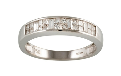 A HALF ETERNITY DIAMOND RING, with clusters of baguette and ...
