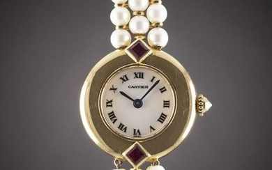 A LADIES 18K SOLID GOLD & PEARL CARTIER COLISEE