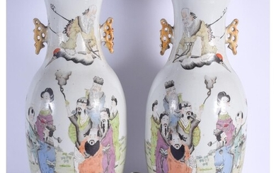 A LARGE PAIR OF EARLY 20TH CENTURY CHINESE FAMILLE ROSE VASE...