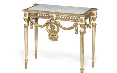 A North Italian Louis XVI style giltwood and white painted console. 19th century. H. 92 cm. W. 108 cm. D. 53 cm.