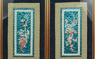 A PAIR OF CHINESE SILKWORK PICTURES OF FLOWERS, framed