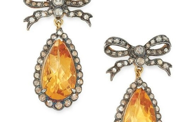 A PAIR OF CITRINE AND DIAMOND DROP EARRINGS each set