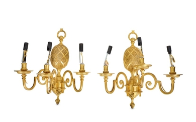 A PAIR OF UNUSUAL GILT BRONZE WALL LIGHTS MODELLED AS PINEAPPLES