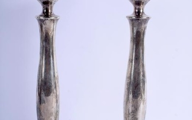 A PAIR OF VINTAGE STERLING SILVER CANDLESTICKS. 15 oz.