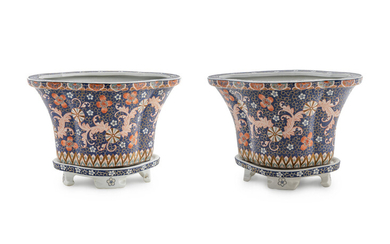 A Pair of Chinese Export Porcelain Vases on Stands