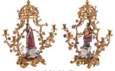 A Pair of French Louis XV-Style Gilt Bronze and Porcelain Figural Four-Light Candelabras