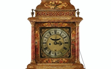 A QUEEN ANNE CREAM AND POLYCHROME-JAPANNED TABLE CLOCK, BY PETER WALKER, CIRCA 1710