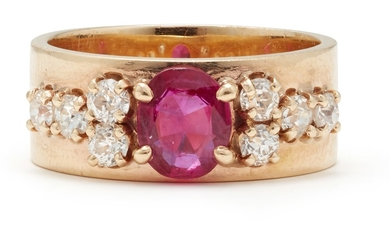 A Ruby, Diamond and Gold Ring