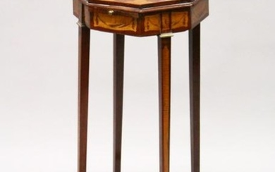 A SHERATON REVIVAL MAHOGANY AND SATINWOOD OCTAGONAL