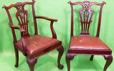 A Set of 4 Mahogany Chippendale Style Dining Chairs having c...