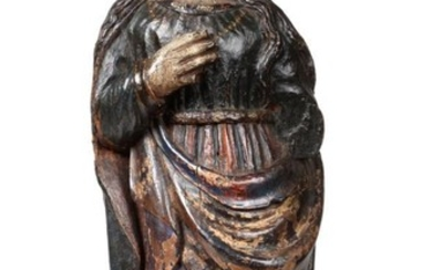 A Spanish Carved and Painted Wood Figure of St Madelaine,...