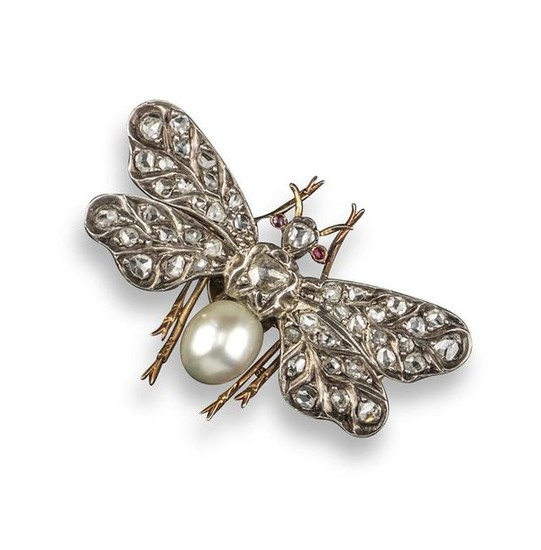 A Victorian diamond and pearl insect brooch, the...
